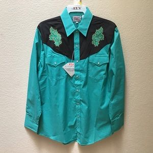 Ely Diamond Shirt Mens Embroidered Pearl Snap
